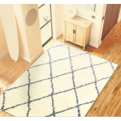Lavedan Wool Hand-Knotted Ivory/Blue Area Rug Rug Size: Rectangle 76 x 96