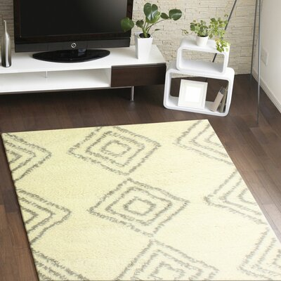 Lavedan Wool Hand-Knotted Ivory/Grey Area Rug Rug Size: 86 x 116