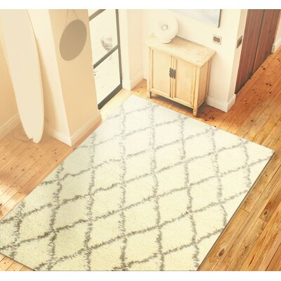 Lavedan Wool Hand-Knotted Ivory/Grey Area Rug Rug Size: 5 x 76