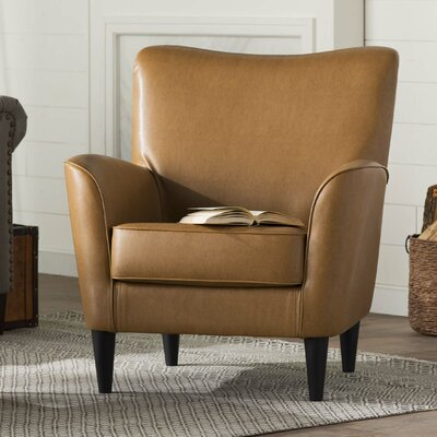 Chatelaine Club Chair Upholstery: Leatherette Brown