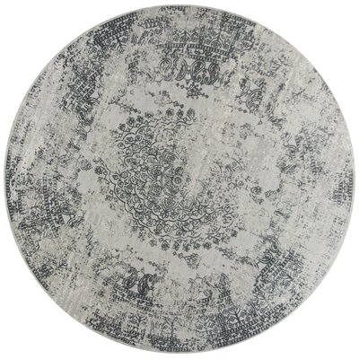Eve Antiquities Gray Area Rug Rug Size: Round 77