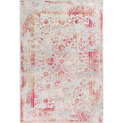 Eve Ivory/Red Area Rug Rug Size: 77 x 1010