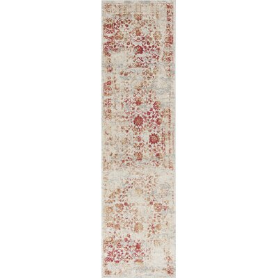Eve Ivory/Red Area Rug Rug Size: Runner 22 x 711