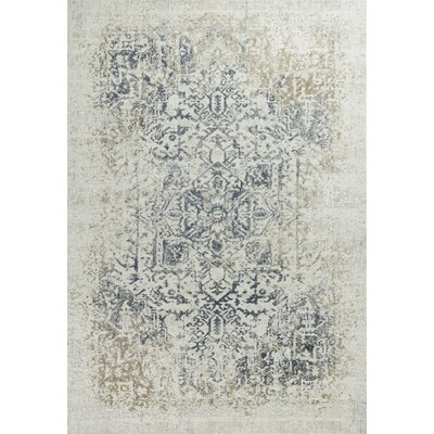 Eve Ivory/Gray Area Rug Rug Size: 53 x 77