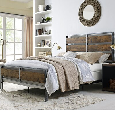 Fabienne Metal and Wood Plank Queen Bed