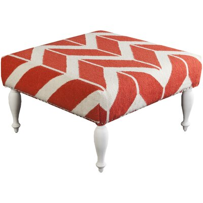 Cairo Flatweave Ottoman Upholstery: Coral