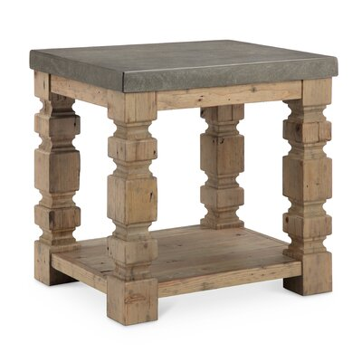 Avis Rectangle Concrete/Wood End Table