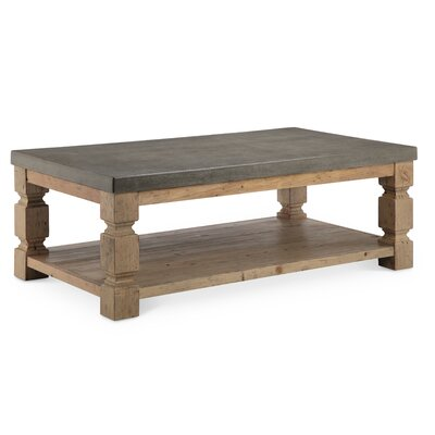Avis Rectangle Concrete/Wood Coffee Table