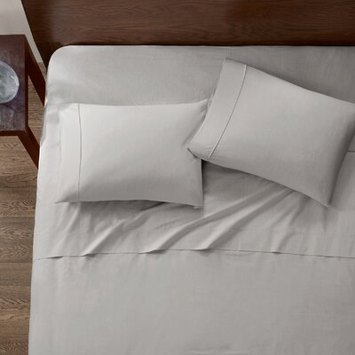 Baine Fiber Dyed 180 Thread Count Cotton Sheet Set Size: Twin, Color: Gray