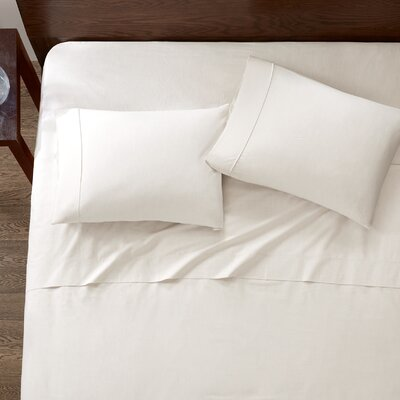 Baine Fiber Dyed 180 Thread Count Cotton Sheet Set Size: Twin, Color: Ivory