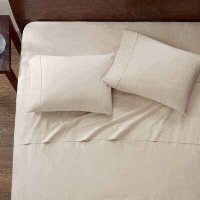 Baine Fiber Dyed 180 Thread Count Cotton Sheet Set Size: Full, Color: Taupe