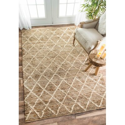 Oreana Hand-Knotted Brown Area Rug Rug Size: Rectangle 9 x 12
