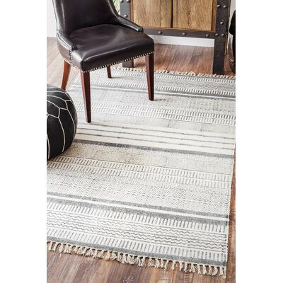 Dunseith Handmade Gray Area Rug Rug Size: Rectangle 76 x 96