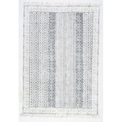 Dunwoody Handmade Gray Area Rug Rug Size: Rectangle 76 x 96