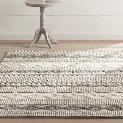 Billie Hand-Tufted Gray/Ivory Area Rug Rug Size: Rectangle 8 x 10
