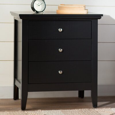 Lignite 3 Drawer Nightstand Finish: Black