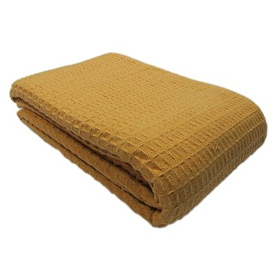 Aurore Weave Cotton Blanket Size: Twin, Color: Camel