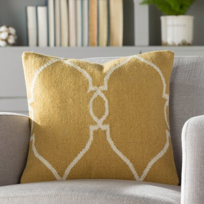 Elena Throw Pillow Cover Size: 18 H x 18 W x 0.25 D, Color: YellowNeutral