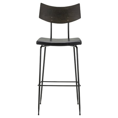 Landau Leather Upholstery Bar Stool Upholstery: Black