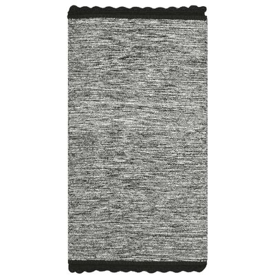 Leighton Hand-Woven Black/Gray Area Rug Rug Size: 23 x 39