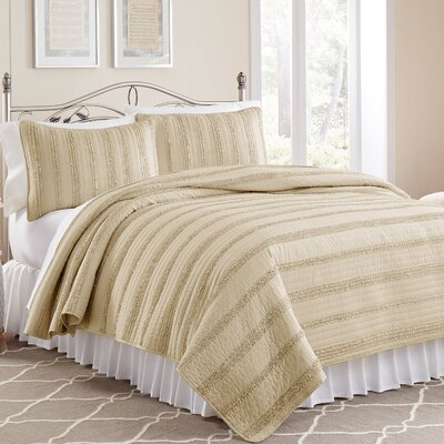 Arthur 3 Piece Ruffled Quilt Set Size: Twin, Color: Taupe