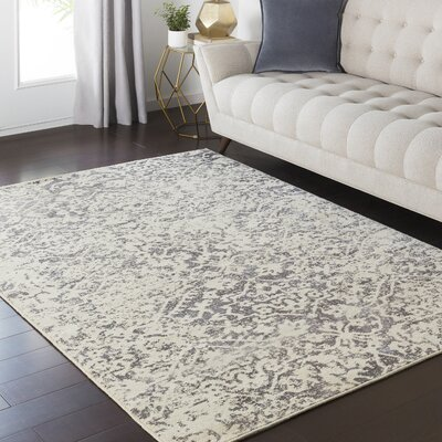 Hyde Park Cream/Charcoal Area Rug Rug Size: 710 x 910