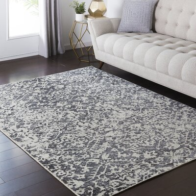 Hyde Park Gray/Black Area Rug Rug Size: 53 x 73