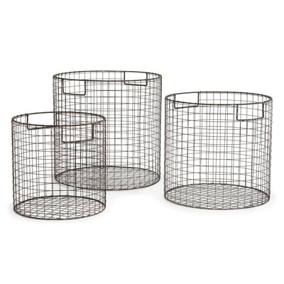Laurel Foundry Modern Farmhouse Wire 3 Piece Basket Set LRFY7072 37121799