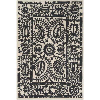 Montgomery Hand-Tufted Black/Cream Area Rug Rug Size: 5 x 76