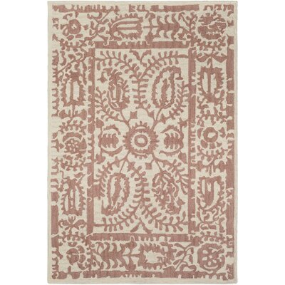 Montgomery Hand-Tufted Rose/Cream Area Rug Rug Size: 5 x 76