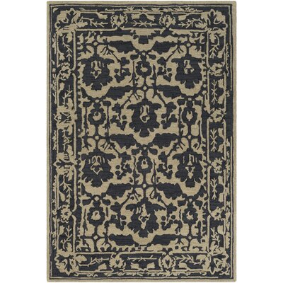 Montgomery Hand-Tufted Black/Tan Area Rug Rug Size: 5 x 76