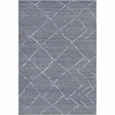 Morton Hand-Woven Navy/White Area Rug Rug Size: Rectangle 8' x 10'