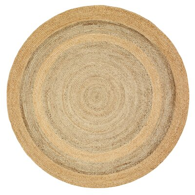 Roth Jute Hand-Woven Natural/Gray Area Rug Rug Size: Round 4
