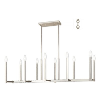 Odette 10-Light Kitchen Island Pendant Finish: Polished Nickel