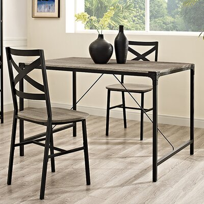 Madeline Angle Iron and Wood Dining Table Finish: Driftwood