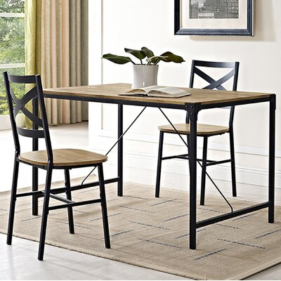Madeline Angle Iron and Wood Dining Table Finish: Barnwood