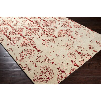 Hartleton Hand-Tufted Red Area Rug Rug Size: 5 x 8