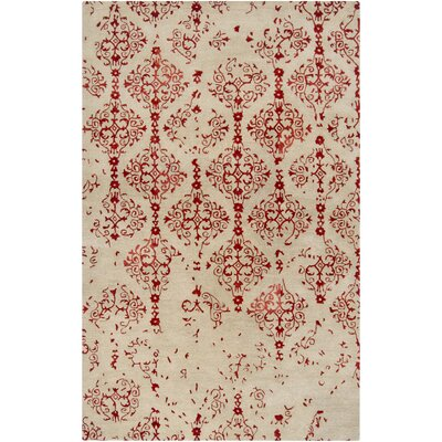 Montsoreau Hand-Tufted Red Area Rug Rug Size: 3'3