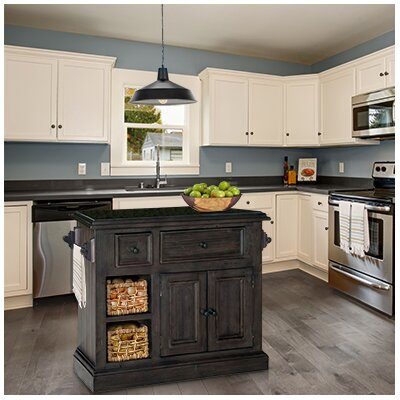 Zula Kitchen Island with Granite Top Base Finish: Weathered Gray