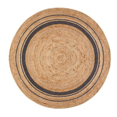 Cheryl Mist Hand-Braided Tan/Gold/Gray Area Rug Rug Size: Round 6