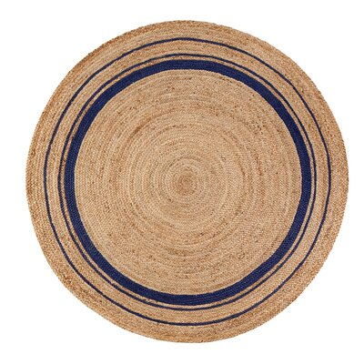 Cheval Midnite Hand-Braided Tan/Navy Blue Area Rug Rug Size: Round 4