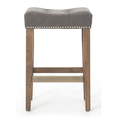 Mallory 26 inch Bar Stool Upholstery: Canvas - Dark Moon, Finish: Brown