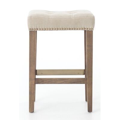 Mallory 26 inch Bar Stool Upholstery: Canvas - Desert, Finish: Brown