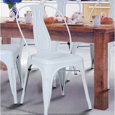Sasha Vintage Stacking Dining Chair Finish: White