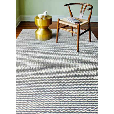Deaver Hand-Knotted Gray Area Rug Rug Size: 76 x 96