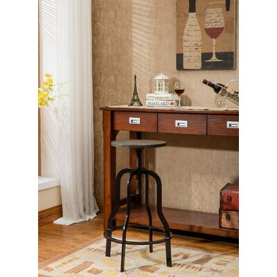 Perignan Adjustable Height Wood Top Bar Stool