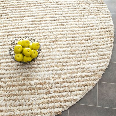 Matelles White & Beige Area Rug Rug Size: Round 7