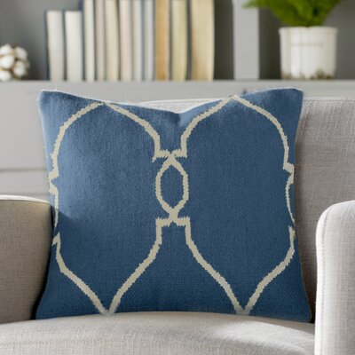 Elena Throw Pillow Cover Size: 18 H x 18 W x 0.25 D, Color: Dark BlueCream