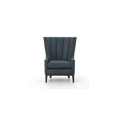 Mckayla Channelled Wing back Chair Upholstery: Chess Peacock