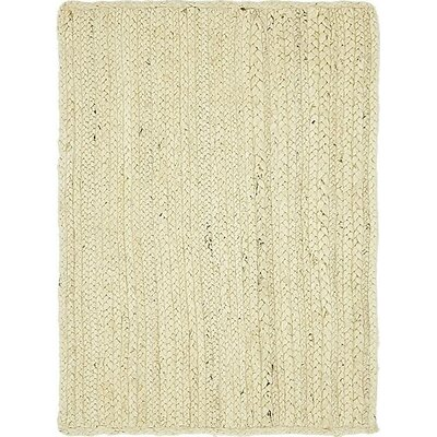 McRae-Helena Hand-Braided White Area Rug Rug Size: Rectangle 9 x 12
